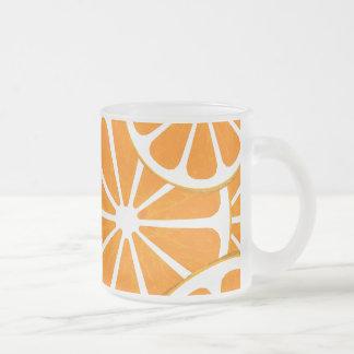 oranges. 10 oz frosted glass coffee mug