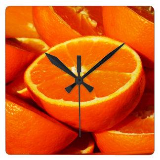 Oranges Photograph Square Wall Clocks