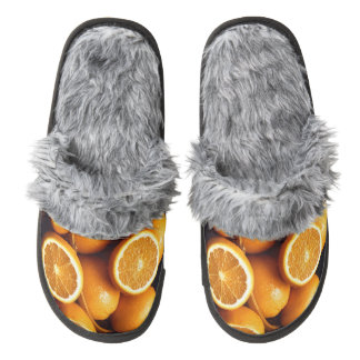 Oranges Piled Up Pair Of Fuzzy Slippers
