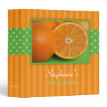 Oranges Polka Dot Stripe Recipe Binder