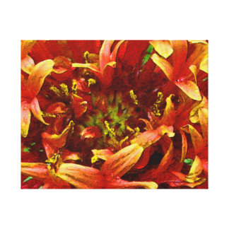 Oranges reds yellows green tones flower photo art gallery wrapped canvas