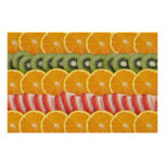 Oranges, Strawberries and Kiwi Fruit Poster