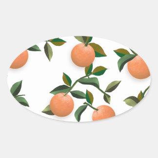 Oranges Vintage Wallpaper Oval Sticker