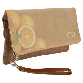 Oranges with Your Initials Clutch