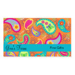 OrangeTurquoise Blue Modern Paisley Whimsy Pattern Business Card Template