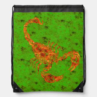 Orangey Red and Green Hand-drawn Scorpion Doodle Drawstring Bag