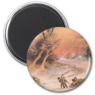 Orangey Sunset Over Snowy Countryside Christmas Fridge Magnets