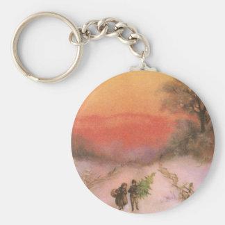 Orangey Sunset Over Snowy Lane Vintage Xmas Key Chains