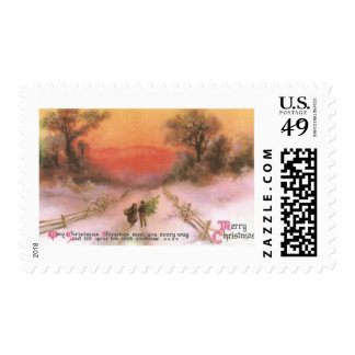 Orangey Sunset Over Snowy Lane Vintage Xmas Postage Stamps
