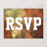 [ Thumbnail: Orangish-Yellowish Mist-Like Pattern RSVP Card ]