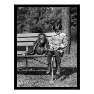 Orangutan and Boy in Park 1920 Posters