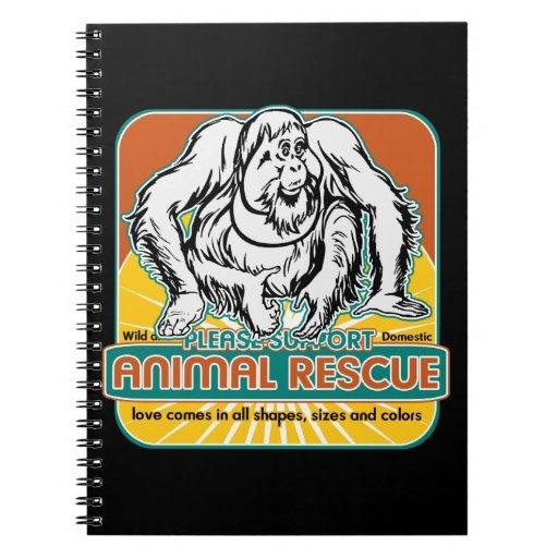 Orangután animal del rescate cuaderno