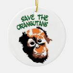 Orangutan Art Double-Sided Ceramic Round Christmas Ornament