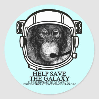 Orangutan Astronaut - Save The Galaxy Classic Round Sticker
