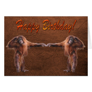 Orangutan Babies Wildlife Supporter Birthday Card