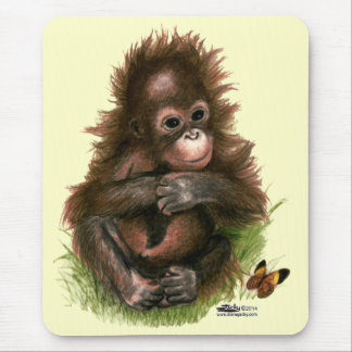 Orangutan Baby and Butterfly Mouse Pad