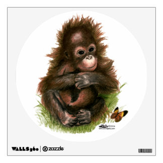 Orangutan Baby and Butterfly Wall Sticker