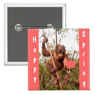 Orangutan Baby Happy Spring Buttons