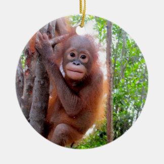 Orangutan Baby Uttuh Double-Sided Ceramic Round Christmas Ornament