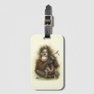 Orangutan Baby With Leaves Bag Tag