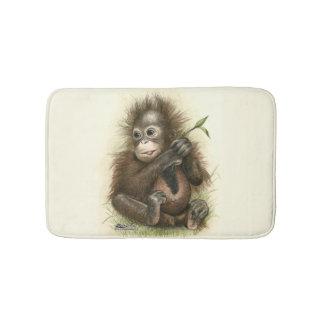 Orangutan Baby With Leaves Bath Mat