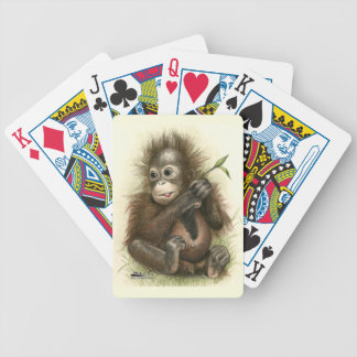 Orangutan Baby With Leaves Bicycle Playing Cards