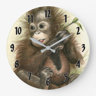 Orangutan Baby With Leaves Large Clock