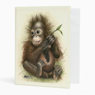 Orangutan Baby With Leaves Mini Binder