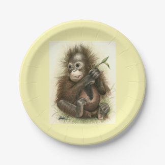 Orangutan Baby With Leaves Paper Plate