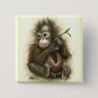 Orangutan Baby With Leaves Pinback Button