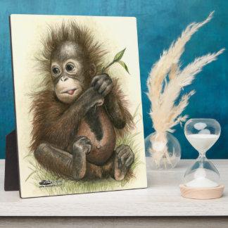 Orangutan Baby With Leaves Plaque