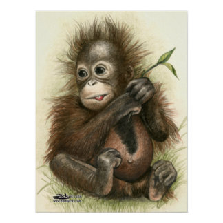 Orangutan Baby With Leaves Poster