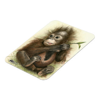 Orangutan Baby With Leaves Rectangular Photo Magnet
