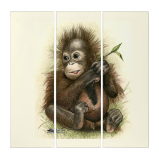 Orangutan Baby With Leaves Triptych