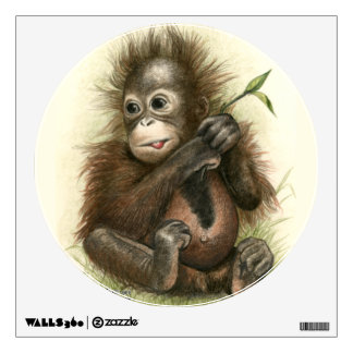 Orangutan Baby With Leaves Wall Sticker