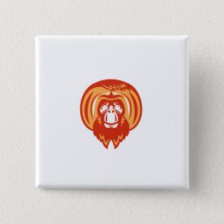 Orangutan Bearded Front Retro Button