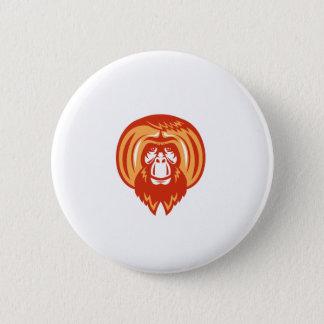 Orangutan Bearded Front Retro Pinback Button