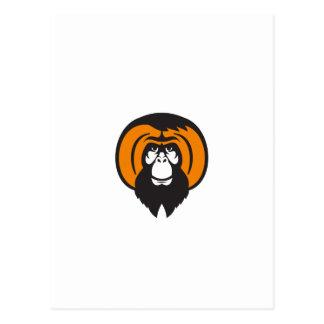 Orangutan Bearded Tussled Hair Retro Postcard