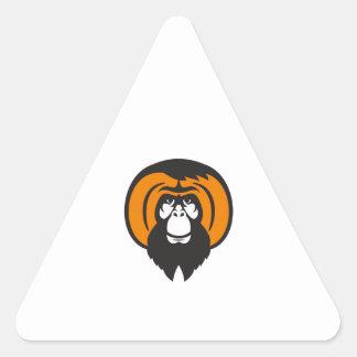 Orangutan Bearded Tussled Hair Retro Triangle Sticker