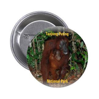 Orangután Borneo Indonesia Pin Redondo De 2 Pulgadas