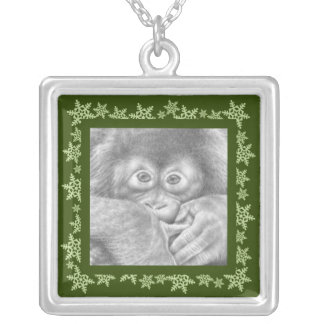 Orangutan Christmas Snowflake Necklace