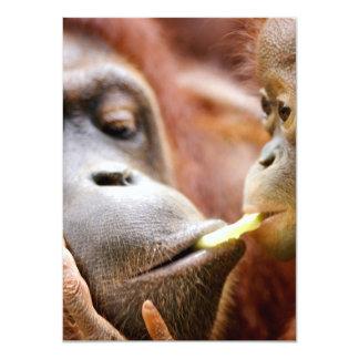 """Orangután de la madre y del bebé invitación 4.5"""" x 6.25"""""""