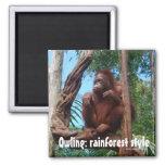 Orangután de Owling en la selva tropical Imán De Frigorífico