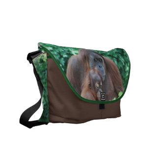 Orangután del bebé con la bolsa de mensajero de la bolsa de mensajeria