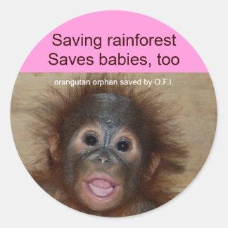 Orangután del bebé de la selva tropical pegatina redonda