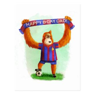 Orangután del fútbol del cumpleaños del papá postales