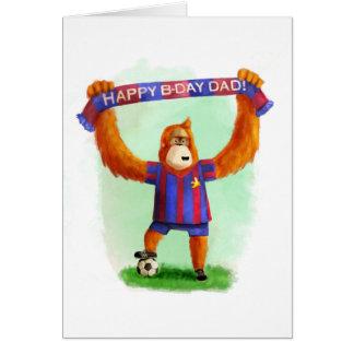 Orangután del fútbol del cumpleaños del papá tarjeta de felicitación