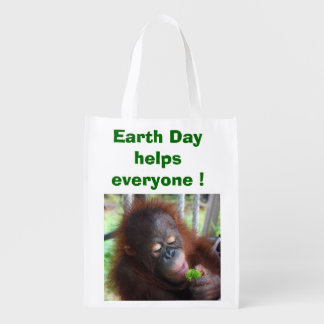 Orangutan Earth Day Grocery Bag
