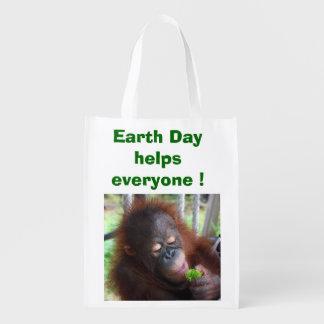 Orangutan Earth Day Reusable Grocery Bag