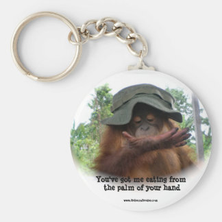 Orangutan : Eating from the palm of your hand Basic Round Button Keychain
